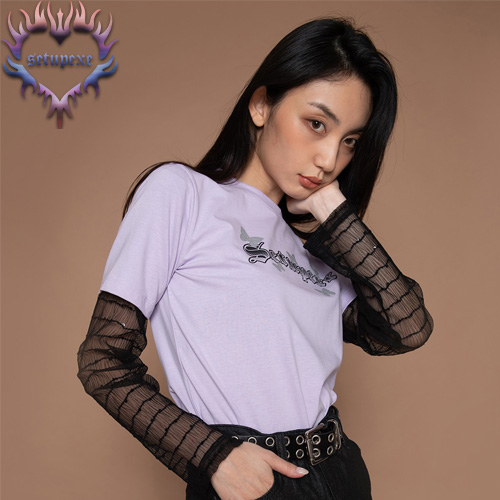 【SETUP-EXE】See-through layered T - lavender