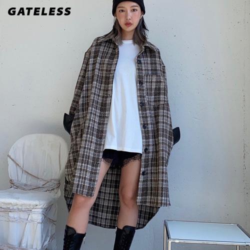 【GATELESS】ウールコートチェックロングシャツ (2color)