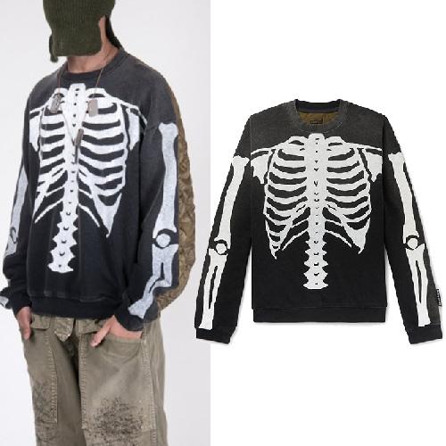 [UNISEX] スカルキルティングスウェットシャツ