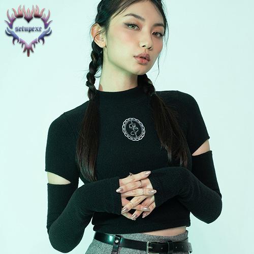 【SETUP-EXE】Sleeve slit plush crop T - black