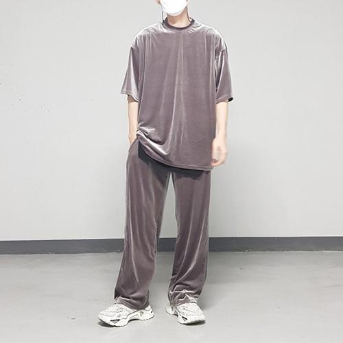 [UNISEX] ベルベットワイドパンツ (2color)