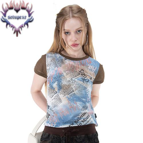 【SETUP-EXE】 Knit sleeve art T [blue lettering]