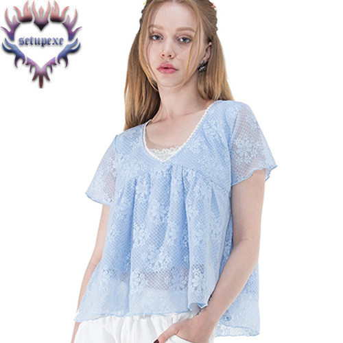 【SETUP-EXE】 Lace layered flared T [baby blue]