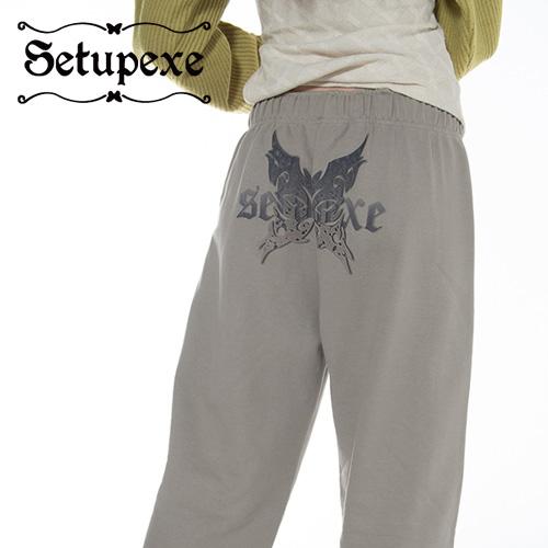 【SETUP-EXE】 Butterfly logo Sweatpants [Mocha]