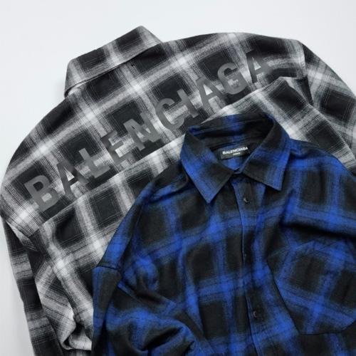 [UNISEX] 後ろロゴチェックシャツ (2color)