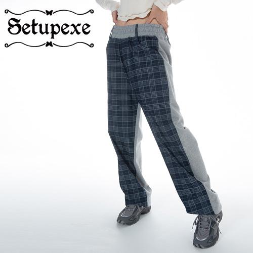 【SETUP-EXE】 Check denim half Sweatpants [Denim/Melange Gray]