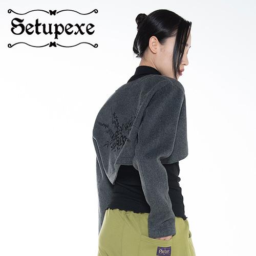 【SETUP-EXE】 Raw edge bolero Jacket [Charcoal]