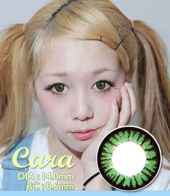 【1年カラコン】Cara Green / 501</BR>DIA:14.0mm, 度あり‐14.00まで