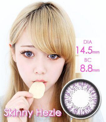 【1年カラコン】Skinny Hezle Violet / 160</BR>DIA:14.5mm, 度あり‐10.00まで