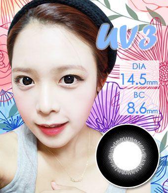 【1年カラコン】UV3 Black / 134</BR>DIA:14.5mm, 度あり‐10.00まで