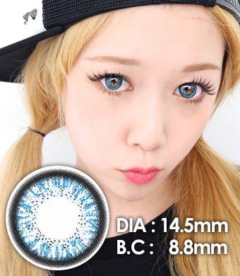 【1年カラコン】Skinny Hezle Blue / 159</BR>DIA:14.5mm, 度あり‐10.00まで
