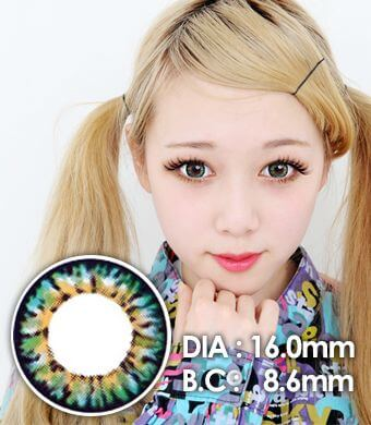 【1年カラコン】VASSEN Ic4 Super Pinky Green / 612</BR>DIA:16.0mm, 度あり‐8.00まで