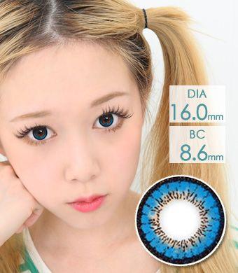 【1年カラコン】VASSEN フェアリーキレイ Blue / 633</BR>DIA:16.0mm, 度あり‐8.00まで