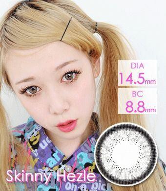 【1年カラコン】Skinny Hezle Gray / 158</BR>DIA:14.5mm, 度あり‐10.00まで