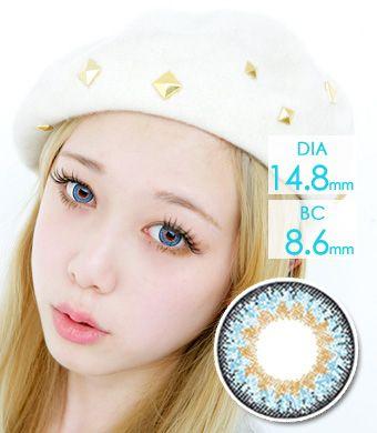 【1年カラコン】シェリエCherie Blue / 660</BR>DIA:14.8mm, 度あり‐8.00まで
