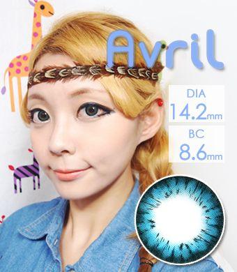 【1年カラコン】Avril (A132) Blue / 1246</br>DIA:14.2mm, 度あり‐8.00まで