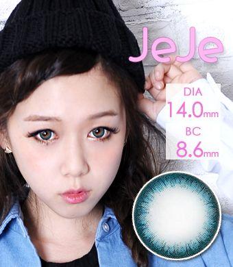 【1年カラコン】Jeje (ジェジェ) Blue / 1250</br>DIA:14.0mm, 度あり‐12.00まで