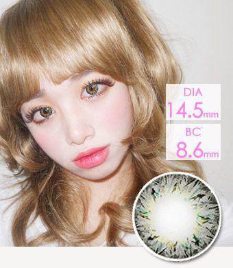 【1年カラコン】ベリア VILLEA Gray /1263</br>DIA:14.5mm, 度あり‐8.00まで