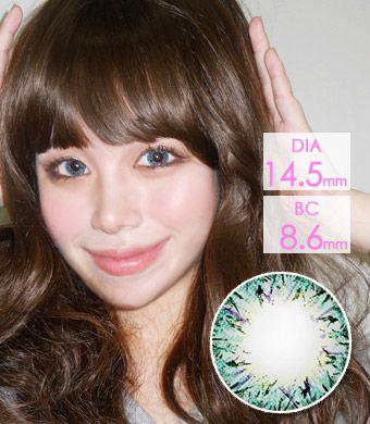 【1年カラコン】ベリア VILLEA Blue / 1265</br>DIA:14.5mm, 度あり‐8.00まで