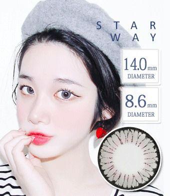 【1年カラコン】スターウェイ - Star Way GRAY / 1347 </BR>DIA:14.0mm, 度あり‐8.00まで