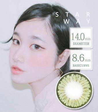【1年カラコン】スターウェイ - Star Way  Green  / 1348 </BR>DIA:14.0mm, 度あり‐8.00まで