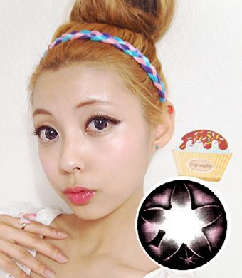 【3ヶ月カラコン】Secret big star(CF) Pink / 077</BR>DIA:14.5mm, 度なし
