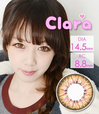 【1年カラコン】 Clara Brown / 240</BR>DIA:14.5mm, 度あり‐10.00まで