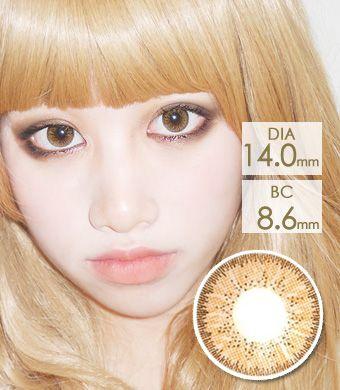 【1年カラコン】Bling Bling GBT Brown / 1232</BR>DIA:14.0mm, 度あり‐10.00まで