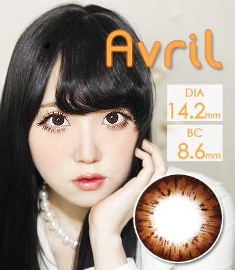 【1年カラコン】Avril (A132) Choco /1244</br>DIA:14.2mm, 度あり‐8.00まで