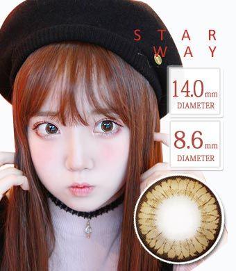ちゅるんカラコン【最長1年使用・両目2枚】スターウェイ Star Way  brown / 1349 </BR>