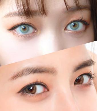 【ハーフ2セット/乱視】 Luna Blue + Honeydew Brown<br>
