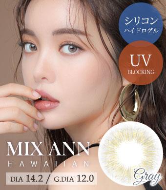 [シリコンハイドロゲル] MIX ANN ハワイアングレー Hawaiian Gray / 1537</BR>DIA:14.2mm, 度あり‐6.00まで