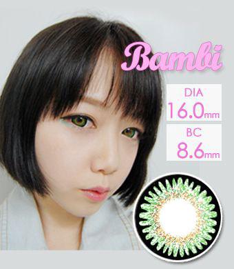 【1年カラコン】VASSEN Bambi Green / 979</BR>DIA:16.0mm, 度あり‐8.00まで