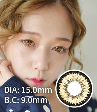 【1年カラコン】 Daisy K17 Brown / 711</BR>DIA:15.0mm, 度あり‐10.00まで