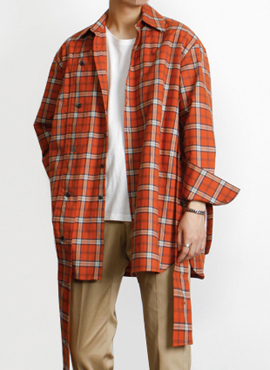 (30% off)[Defond] Plaid Oversized Cut-Out Shirt Orange