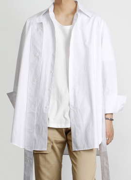 (30% off)[Defond] Plaid Oversized Cut-Out Shirt White