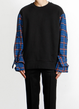 (30% off)[Defond] Plaid Oversized Sweatshirt Blue